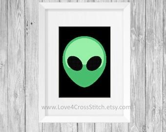 Alien Cross Stitch Pattern Modern, Easy Cross Stitch Alien Face, UFO Cross Stitch Modern, Modern Cross Stitch, Science Cross Stitch Easy