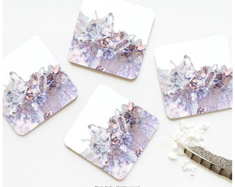 Coaster Set of 4 Crystal Mineral Print Coasters Lilac Coral Quartz Print Coaster Set Tabletop Modern Crystal Cluster Coasters 08.