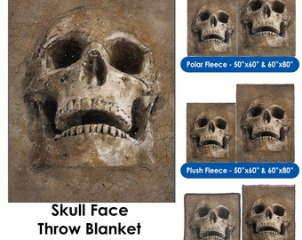 Skull Face - Throw Blanket / Tapestry Wall Hanging