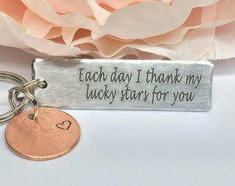 Each day, I thank my lucky stars for you keychain and penny, Lucky Penny Personalized Keychain, Custom keychain for him, Gift for her