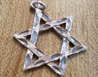 Vintage Sterling Silver Star of David Jewish Judaism Pendant 925