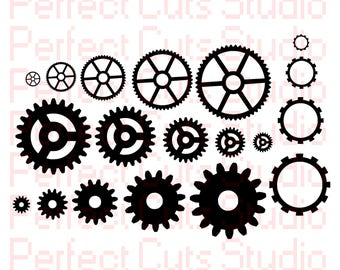 Gears SVG and Studio3 File - Gear Cutouts - Cricut - Silhouette Studio - Downloads Gears Stencils Cuts Stencil