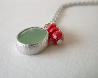 Mint and coral necklace