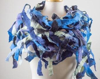 Felted Scarf, Grid, merino wool, Navy blue, light blue, green, multi colour, Lace, Hole, lattice scarf, felt, wet felt,