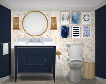 Interior Design Services, Bathroom Design, E-Design, Blue Bathroom, Modern Bathroom, Gold Bathroom