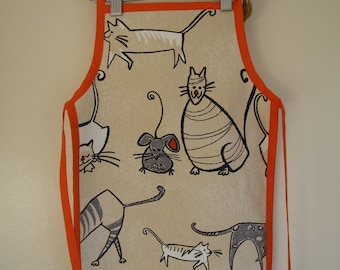 Cat and Mouse Cotton Children's Apron with Orange Trim