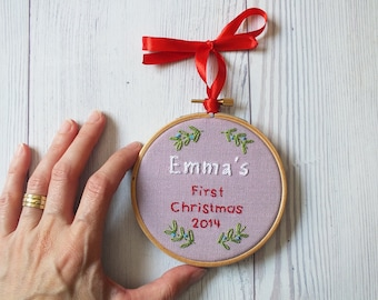 """Baby's First Christmas tree ornament Embroidered keepsake hanging hoop Personalized and customized holiday décor - 4"""" mistletoe decoration"""