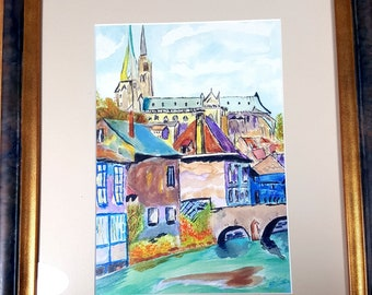 Vintage Framed COLORFUL PAINTING 16 European Cityscape Watercolor Painting Wall Art Bruges Belgium