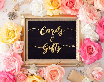 Wedding Gifts & cards Sign 8x10 Gold Foil Chalkboard Calligraphy Sign DIY Wedding Ceremony Printable Image Digital INSTANT DOWNLOAD 300dpi