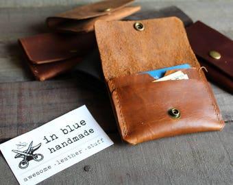 leather card wallet, snap wallet, leather wallet, pocket card wallet, card wallet, leather snap wallet, minimalist wallet, small wallet