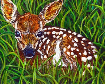 Animal Acrylic Painting -  Baby Deer in the Grass