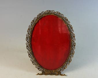French Old Paris Oval Gold  Filagree Picture Frame