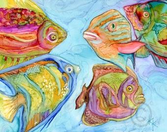 Tropical Fish Watercolor Print