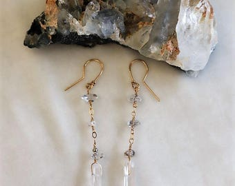 Quartz & Herkimer Diamond Earrings #14