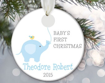 Baby Elephant Ornament, Baby's First Christmas Ornament, Personalized Christmas Ornament, Baby shower gift, Baby Girl or Baby Boy OR535