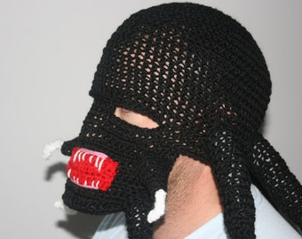 Predator 'Inspired' Crochet Ski Mask Hat With Extra Detail. Inspired by Film. Scary Alien. All sizes available! Great For Halloween.