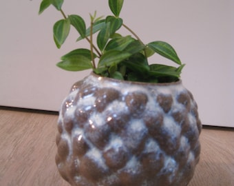 gray plant container with light blue glaze