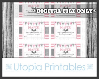 Pink Gray Diaper Raffle Ticket Card Insert Girl Baby Shower Theme Party Favor Digital Printable Print At Home DIY Stripes Grey White