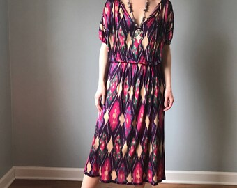 vintage 70s MISSONI dress | silk IKAT print dress | orange label multi color dress