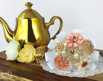 Wedding Brooch Bouquet, Broach Bouquet, Brooch Bouquet, Pink Gold Bouquet, Gold Wedding, Bridal Brooch Bouquet, Button Bouquet, Pearl Brooch