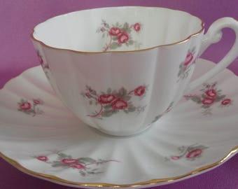 Rare Shelley Bone China Pink Roses Gold Rim Tea Cup & Saucer Ludlow