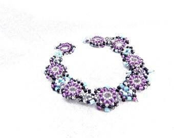 Purple Beaded Bracelet/ Black Blue Beadwoven Bracelet in handmade/ Multicolor bracelet / Beadwork/ Coupon codes/ SALE