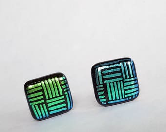 Clip On Earrings, Dichroic Earrings, Green and Black Earrings, Fused Glass Jewelry, Made in USA, Clip Earrings, Clipon Earrings