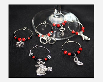 Six Wine Glass Charms // Fifty Shades of Grey // BDSM Gift // Party Favours // Hen Party // Bachelorette Party // Birthday Party