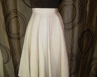 Vintage White Quilted Circle Skirt , ca 1950s