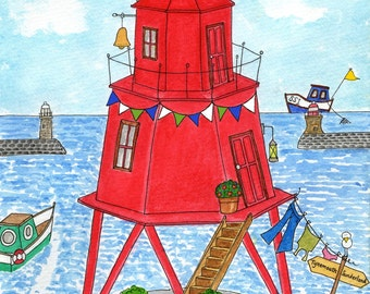 The Herd Groyne, South Shields  - Print, Mug, Card, Magnet by Zoe Emma Scott