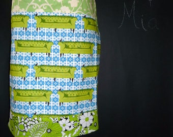 Sample SALE - Will fit Size S/M - Ready to MAIL - Patchwork Pencil SKIRT - Amy Butler - by Boutique Mia