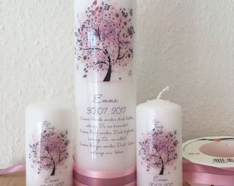 """Set of three candles """"Tree of Life"""" in pink plum"""