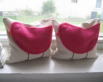 Hot Pink Birdie Beanbag Bookends