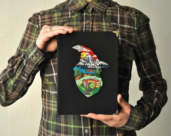 Hobbit Notebook, A5 Handmade Embroidered Journal, Blank Handbound Note Books, Diary, Hand Embroidery, Old Paper