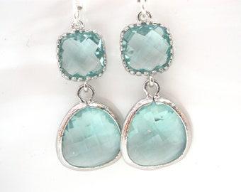 Aqua Earrings, Soft Green Earrings, Light Green Earrings, Silver Earrings, Wedding, Bridesmaid Earrings, Bridal Jewelry, Bridesmaid Gifts