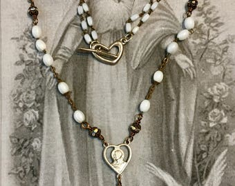 Madre Linda, vintage assemblage necklace, religious, rosary, French