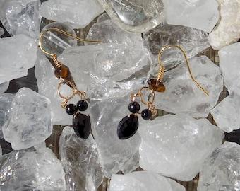 Earrings black spinel (gemstone)