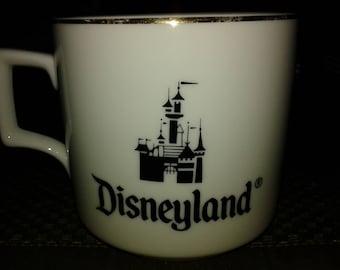 Disneyland porcelain gold trimmed mug