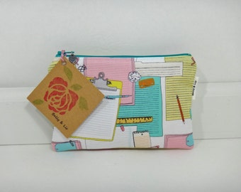 Clipboards Small Pouch, Small Cosmetic Bag, Makeup Bag, Small Pouch Purse, Small Cosmetic Pouch, Zipper Pouch, Makeup Pouch