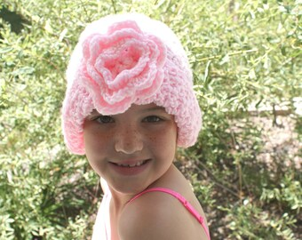 Womens Snow Hat, Pink Winter Hat, Pink Cloche Hat, Womens Crochet Hat, Crochet Pink Cloche, Feminine Hat, Pink Slouch Hat, Floral Cap