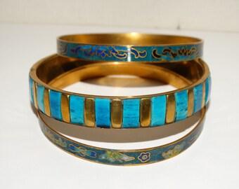 Brass Enamel Set Of 3 Bangle Bracelets.