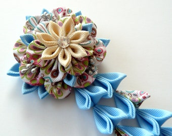 Blue Brown Kanzashi Fabric Flower hair clip with falls. Blue and brown fabric flower.