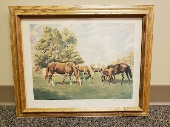 Vintage Framed Allen Brewer Jr Signed Print Mares and Foals 18 x 14