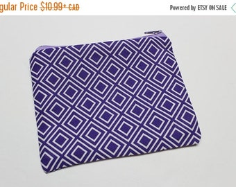 CLOSING SALE Zipper Pouch - Purple Diamonds - carry all your litttle things - makeup bag, overnight bag