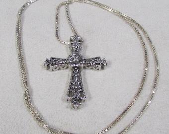 Floral Design Sterling Silver Cross Necklace