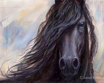 Friesian Horse Art-Original Oil Painting-'Mane Attraction' on canvas