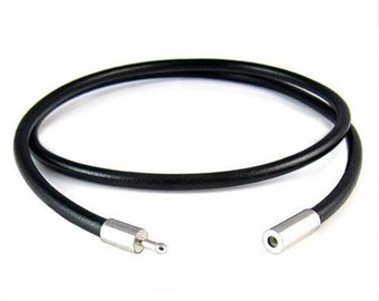 """2mm Black Leather Cord Necklace - Stainless Steel Bayonet Clasp - Real Genuine Leather Cord - Easy on/off Clasp - 14"""" 16"""" 18"""" 20"""" 24"""" Length"""