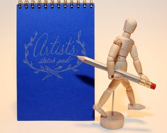 Artist Sketchbook + tiny poseable mannequin and pencil