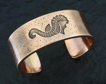 Copper Sea Horse Cuff by Roger Halas