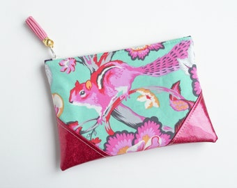 Pink Squirrel Fuschia Glitter Mini Zip Pouch, Coin Pouch, Coin Purse, Card Holder, Gifts for Her, Gifts for Teens,  Grey, Wristlet